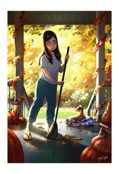 Alone Art, Digital Art Girl, Girl And Dog, Whimsical Art, Anime Art Girl, Aesthetic Art, Digital Illustration, Autumn Illustration, Cartoon Art