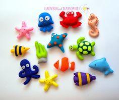 Felt Magnets Sea Creatures by LadybugOnChamomile