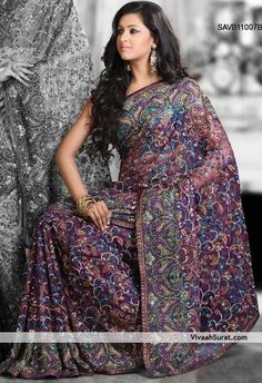 Lavish Embroidered Purple Net Saree