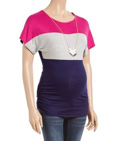 Due Time Navy & Fuchsia Side-Ruched Maternity Top & Necklace #zulily #zulilyfinds