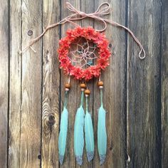 3 Floral Mint and Coral Silver Glitter Dream Catcher by DreamDen