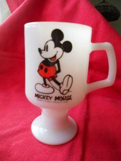 Vtg Mickey Mouse Milk Glass Tall Pedestal Coffee Mug Cup Walt Disney D Handle 18