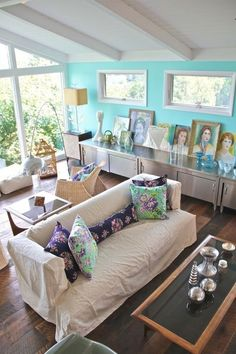 Interesting layout of the furniture. Splash-Of-Color Roundup: 14 Accent Walls (And 1 Accent Ceiling!)
