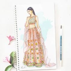 The prettiest to adorn this season by AsalAbuSandeep on the go. Dress Design Drawing, Dress Design Sketches, Fashion Design Sketchbook, Fashion Design Drawings, Fashion Sketches, Fabric Drawing, Dress Designs, Fashion Drawing Dresses, Fashion Illustration Dresses