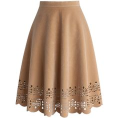 Chicwish Faux Suede Scrolled Hem Cutout A-line Midi Skirt ($42) ❤ liked on Polyvore featuring skirts, bottoms, beige, knee length a line skirt, faux suede skirt, cut out skirt, beige midi skirt and midi skirt