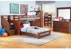 Carter's Kids Collection  Lost Creek  Espresso 3 Pc Twin Jr. Step Bunk Bedroom w/Chest