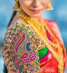 10 Latest Peacock Work Blouse Design Images Peacock designs on the blouse patterns are and it is a very ethnic motive that is seen in the Indian wear a lot. We've compiled this image catalogue of the latest peacock blouse patterns and design… Peacock Blouse Designs, Peacock Embroidery Designs, Cutwork Blouse Designs, Wedding Saree Blouse Designs, Fancy Blouse Designs, Blouse Neck Designs, Peacock Design, Blouse Patterns, Sari Design