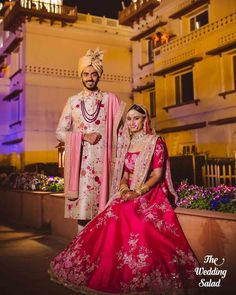 Find the best couple outfit combinations for weddings to show your twinning. Trending Bride and Groom outfit combinations must check out once. Couple Wedding Dress, Wedding Dresses Men Indian, Wedding Outfits For Groom, Groom Wedding Dress, Indian Wedding Couple, Bridal Outfits, Groom Dress, Indian Bridal, Wedding Wear