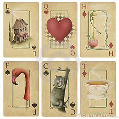 Magic Playing Cards Alice in Wonderland, drawn by the use of textures in a graphics editor