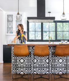 Modern Kitchen Interior Like bold pattern look of tiling for kitchen island but more neutral/contemporary design mixed in. Like wood-looking floors idea for kitchen. - A historical charmer in Sacramento gets a DIY home renovation. Design Home Plans, Home Design, Interior Design, Home Decor Kitchen, New Kitchen, Home Kitchens, Kitchen Ideas, Awesome Kitchen, Kitchen Island With Bar