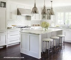 Mix and Chic: Home tour- A green and stylish Arkansas home! Love this kitchen/the hardware/floors/white/marble!