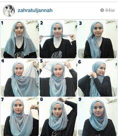 Easy hijab tutorial using a square scarf! Tutorial Hijab Modern, Square Hijab Tutorial, Hijab Style Tutorial, Hijab Turban Style, Hijab Chic, Stylish Hijab, Hijab Outfit, How To Wear Hijab, Scarf Styles