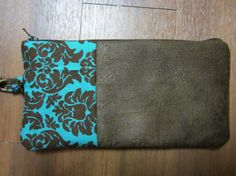 Wristlet-Teal and brown by VirginiaBlueCouture on Etsy, $25.00