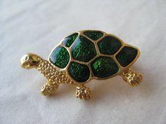Turtle Green Gold Brooch Enamel Tortoise Vintage Pin