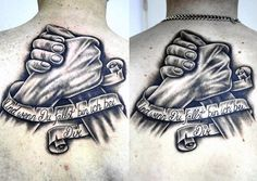 Shaded Black And Grey Ink Brothers Banner Back Tattoos