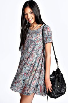 Penny Paisley Printed Cap Sleeve Swing Dress//swing dresses are back? They sure are cool and comfortable....