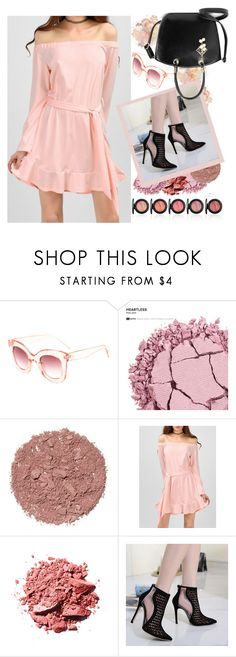 """""""pink off shoulder dress by twinkledeal"""" by teto000 ❤ liked on Polyvore featuring Urban Decay, Illamasqua, PinkDress, blackshoes and offshoulderdress"""