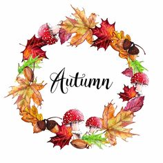 Wreath Watercolor, Watercolor Flowers, Watercolor Paintings, Autumn Art, Autumn Garden, Cartoon Girl Images, Autumn Illustration, Wreath Drawing, Mushroom Art