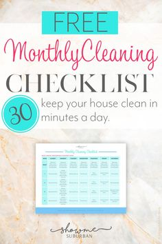 Keep your house clean in just 30 minutes a day with this free monthly cleaning checklist! Cleaning your whole home is mapped out for you with daily, weekly, and monthly cleaning tasks. Entryway Organization, Paper Organization, Organized Entryway, Organized Bedroom, Organized Kitchen, Printable Organization, Organizing Tips, Cleaning Checklist, Cleaning Hacks