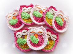 Set of 8 Crochet Owls