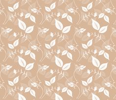 Peach and White Floral with Leaves fabric by pencreations on Spoonflower - custom fabric