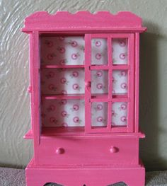 Pink dollhouse miniature dish hutch by TinyTinaCreations on Etsy, $8.50