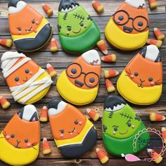 Halloween cookies cut out cookies, hand decorated, royal icing, Candy Corn Costumes Mummy Frankenstein Monster Dracula Vampire Black Cat Kitty Harry Potter Thanksgiving Cookies, Fall Cookies, Iced Cookies, Cute Cookies, Royal Icing Cookies, Cookies Et Biscuits, Holiday Cookies, Cupcake Cookies, Cupcakes