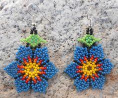 Beautiful Blue Floral Flower Petal Beaded by MiCasitaDeChaquira Seed Bead Earrings, Beaded Earrings, Etsy Earrings, Seed Beads, Crochet Earrings, Beaded Flowers, Floral Flowers, Bead Jewellery, Beaded Jewelry