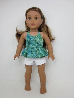 American girl doll clothes- Green and aqua batik halter top , white pin tuck…