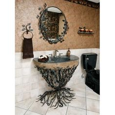 Found it at Wayfair - Organic Suites Embracious Aspen Forest Iron Pedestal Bathroom Sink Aspen, Stone Sink, Rustic Lighting, Home And Deco, My New Room, My Dream Home, Home Improvement, Sweet Home, Room Decor