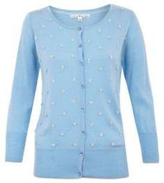 Yumi Light blue Flower embellished cardigan on shopstyle.com.au