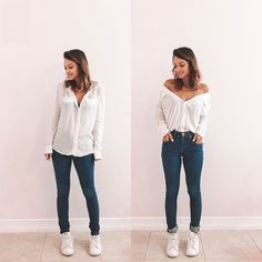 Simple Summer to Spring Outfits to Try in 2019 – Prettyinso Mode Outfits, Trendy Outfits, Summer Outfits, Fashion Outfits, Womens Fashion, Fashion Tips, Looks Camisa Jeans, Thrift Store Outfits, Thrift Store Fashion