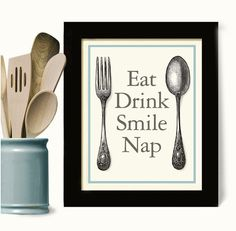 Kitchen Art Print Kitchen Decor Eat Drink Cooking Quote Art Print