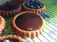 Easy coconut crust with chocolate and blueberry filling.