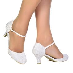WOMENS IVORY SATIN & LACE LOW HEEL MARY JANE BRIDAL WEDDING SHOES SIZE 3 - 8 UK