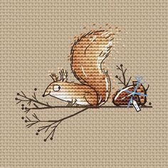 Squirrel pattern Counted Cross Stitch squirrel with acorn cross stitch chart forest animal pattern Instant download Squirrel