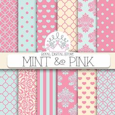 "Mint and Pink Digital Paper: ""Mint & Pink "" with mint and pink patterns, damask, hearts, quatrefoil, polka dots, geometric patterns"