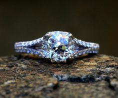 Old Mine Cut - 1.62 cttw  Cushion Cut - Split Shank-  Halo - Pave - Antique Style - Diamond Engagement Ring 14K. $3,700.00, via Etsy.