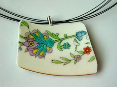 Vintage Broken Dish Necklace Recycled Jewelry by BellaCosaArt, $28.00