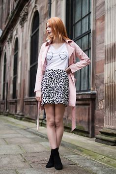 Sheinside Pink Trench Coat, Olive & Frank Stay Weird Tshirt, Lily And The Lamplight Dalmatian Print Skirt, Daniel Footwear Suede Boots
