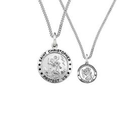 """Men's Sterling Silver Parent and Child Round St. Christopher Medal Set, 18"""" and 24"""" Amazon Curated Collection. Save 41 Off!. $59.00. This is a set.  Child's medal has chain length of 18"""", height of .5 inches, and width of .5 inches. Gift box included.. Made in USA"""