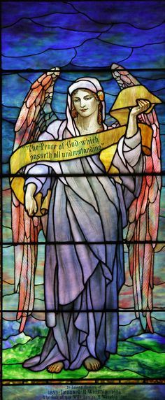"""The Angel of Peace! ♡ """"The Peace of God which passeth all understanding""""—Tiffany, Angel, St Johns Episcopal Church, Larchmont Stained Glass Church, Stained Glass Angel, Stained Glass Paint, Tiffany Stained Glass, Tiffany Glass, Stained Glass Projects, Stained Glass Windows, Mosaic Glass, Glass Art"""