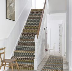 How Much Does It Cost to Carpet Stairs Traditional Staircase Also Colour Hallway Pattern Patterned Carpet Rug Runner Stair Runner Staircase Carpet Staircases Stairs Wall Art Wood Chair Wooden Floor Stairway Carpet, Hallway Carpet, Hallway Flooring, Carpet For Stairs, Stairs Landing Carpet, Office Carpet, Hardwood Stairs, Patterned Stair Carpet, Striped Carpet Stairs