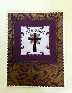 A personal favorite from my Etsy shop https://www.etsy.com/listing/265526246/hand-made-cards-he-is-risen-purple-cross