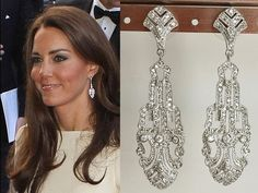 Kate Middleton Cubic Zirconia Deco Earrings e617 by tudorshoppe