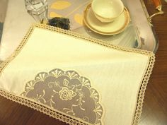 Tea Tray cloth elegant lace breakfast by ClassyInteriorsDeco