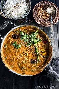 This easy to make Creamy Coconut Lentil Curry takes less than an hour to make (mostly hands off time) and is packed full of delicious Indian flavors. It's a healthy vegan recipe that makes a perfect meatless Monday dinner recipe. Make extras and you'll ha Curry Recipes, Veggie Recipes, Vegetarian Recipes, Dinner Recipes, Cooking Recipes, Healthy Recipes, Vegan Vegetarian, Recipes For Lentils, Pressure Cooker Recipes Vegetarian