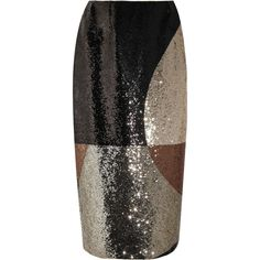 TOM FORD Sequined stretch-satin skirt (5,340 CAD) ❤ liked on Polyvore featuring skirts, tom ford skirt, zipper skirt, tom ford, multi colored skirt and panel skirt