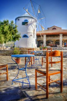 Windmill and Taverna at Cape Skinari on Zakynthos island Greece  Photography by Alistair Ford