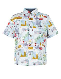 Our George short-sleeve shirt for boys is printed with famous London landmarks, and designed with a chest pocket and tortoiseshell-effect buttons.